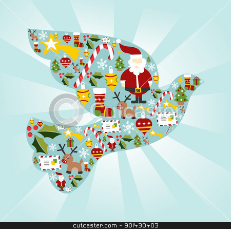 Christmas icon set in dove of peace shape stock vector clipart, Christmas icon set in dove of peace shape background. Vector file available. by Cienpies Design