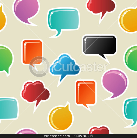 Social media bubbles pattern background stock vector clipart, Social speech bubbles in different colors and forms seamless pattern illustration background. Vector file available. by Cienpies Design