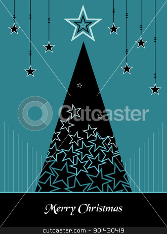 Christmas tree winter style background stock vector clipart, Christmas tree season blue colors illustration with snow and stars background. Vector file available. by Cienpies Design