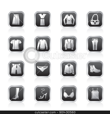 Clothing and Dress Icons stock vector clipart, Clothing and Dress Icons - Vector Icon Set by Stoyan Haytov