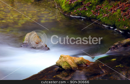 Fast flow stock photo, Fast river with small waterfall and beautiful shore. by Primus