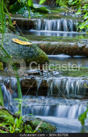 Waterfall stock photo, Beautiful veil cascading waterfalls, mossy rocks by ARPAD RADOCZY