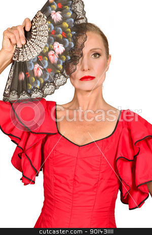 Woman in flamenco dress with fan stock photo, Woman in flamenco dress with fan by photography33
