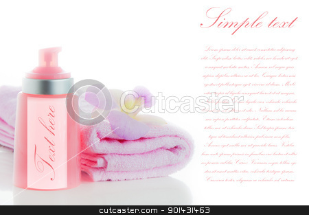 A pink towels with a orchid flower and a bottle of cosmetic on w stock photo, A pink towels with a orchid flower and a bottle of cosmetic on white background and area for your text by p.studio66
