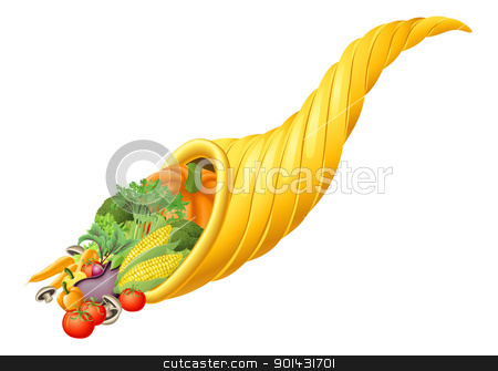 Thanksgiving or harvest festival cornucopia horn stock vector clipart, Illustration of thanksgiving or harvest festival cornucopia horn full of produce by Christos Georghiou