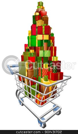Shopping trolley cart with lots of gifts stock vector clipart, A shopping trolley cart with huge amount of gifts or presents stacked in it by Christos Georghiou