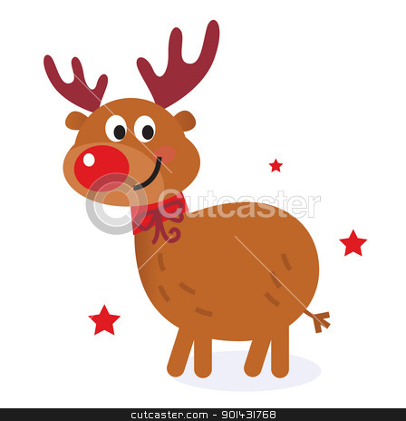Cute christmas cartoon reindeer isolated on white stock vector clipart, Christmas red nose reindeer. Vector cartoon Illustration.  by BEEANDGLOW
