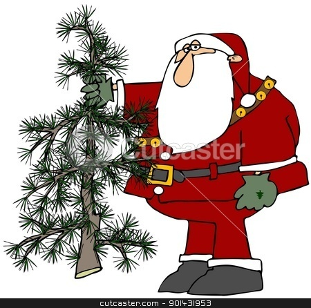 Santa Holding A Scraggly Tree stock photo, This illustration depicts Santa Claus holding a small, scraggly Christmas tree. by Dennis Cox