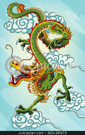 Chinese Dragon Painting stock vector clipart, chinese dragon painting for your chinese new year 2012 celebration. This illustration contains a transparency blend, which makes up the shadows shape for the dragon. This file EPS 10 version by H4nK