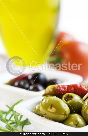 Ingredients stock photo, Green and black olives, olive oil, tomato and herbs by klenova