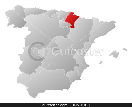 Map of Spain, Navarre highlighted stock vector clipart, Political map of Spain with the several regions where Navarre is highlighted. by Schwabenblitz