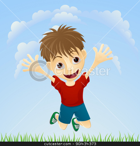 Young happy boy jumping stock vector clipart, Illustration of a young boy happily jumping the air with arms outstretched. by Christos Georghiou