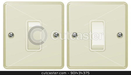 Light switch illustration stock vector clipart, Illustrations of a light switch in the on and off positions  by Christos Georghiou