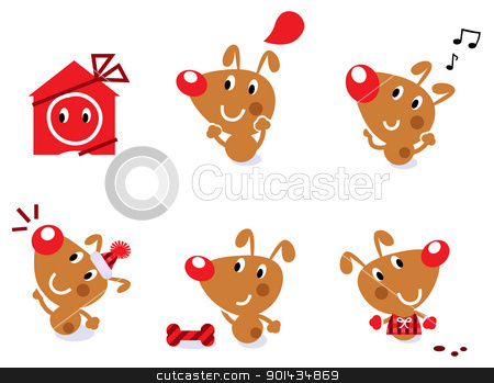 Cute retro christmas dog set isolated on white stock vector clipart, Little brown christmas dog collection. Vector cartoon Illustration. by BEEANDGLOW