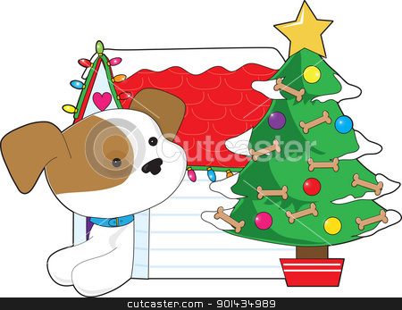 Christmas Dog House stock vector clipart, A cute dog looks out from the doorway of it's dog house to see a Christmas tree decorated with ornaments and dog bones.  by Maria Bell