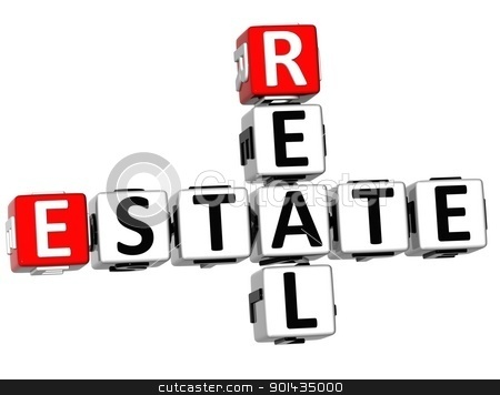 3D Real Estate Crossword  stock photo, 3D Real Estate Crossword on white background by Curioso Travel Photography