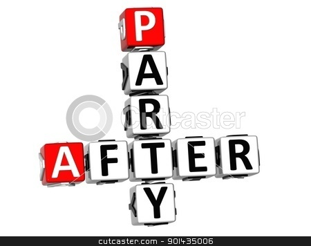 3D After Party Crossword stock photo, 3D After Party Crossword on white background by Curioso Travel Photography