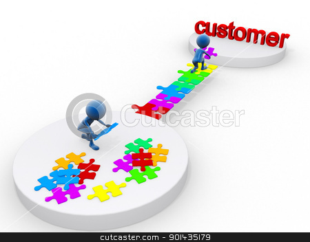 3D happymen attaining a customer stock photo, 3D happymen attaining a customer by dacasdo