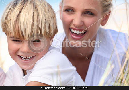 mother and son having fun outdoors stock photo, mother and son having fun outdoors by photography33