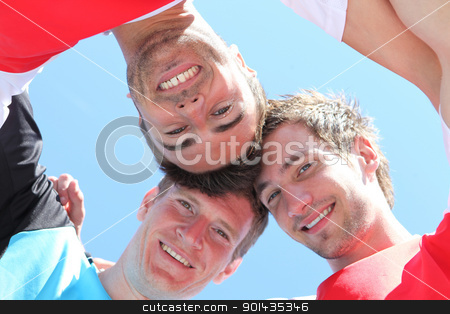 Guys with heads together stock photo, Guys with heads together by photography33