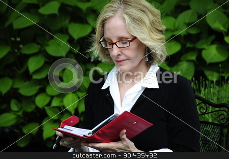 Businesswoman. stock photo, Sexy blond businesswoman checking her schedule outdoors. by OSCAR Williams