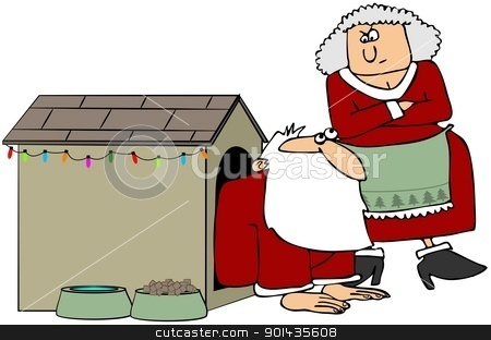 Santa In The Dog House stock photo, This illustration depicts Santa in a dog house with Mrs. Claus looking at him sternly. by Dennis Cox