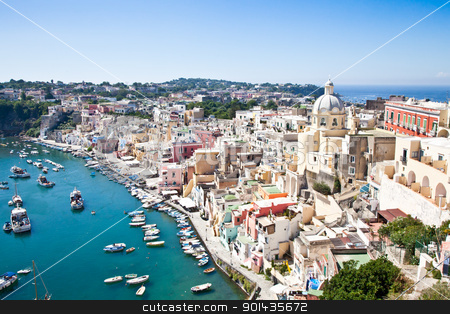 Procida view stock photo, Panoramic view of Procida Isle, in Naples Gulf, Italy by Perseomedusa