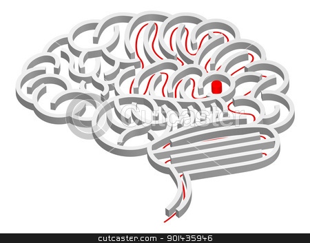 Brain maze concept stock vector clipart, A maze in the shape of a brain with path to the centre  by Christos Georghiou