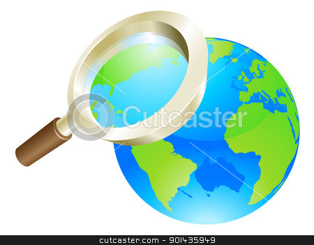 Magnifying glass world earth globe concept stock vector clipart, Magnifying glass zooming on world earth globe concept illustration by Christos Georghiou