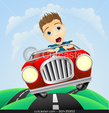 Young man driving fast classic car stock vector clipart, A young man looking very scared driving fast in classic sports car  by Christos Georghiou