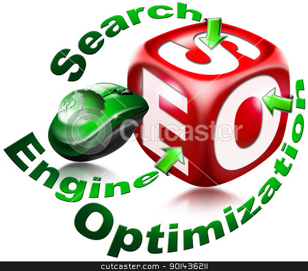Cube SEO - Search engine optimization stock photo, Red cube with the acronym SEO, mouse, and written search engine optimization  by catalby
