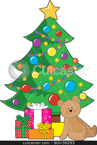 Christmas Teddy Bear stock vector clipart, A Christmas tree decorated with ornaments and a star, has wrapped gifts and a teddy bear around it's base.  by Maria Bell