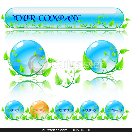 Abstract vector environmental theme elements. Website banners is stock vector clipart, Abstract vector environmental theme elements. Website banners isolated on white background. by mozzyb