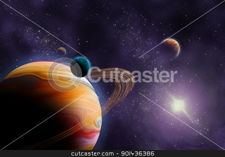 Planets in deep dark space. Abstract illustration of universe. stock photo, Planets in deep dark space. Abstract illustration of universe. by mozzyb