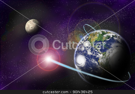 Technology digital communication in binary system on planet Eart stock photo, Technology digital communication in binary system on planet Earth on starfield background.  by mozzyb