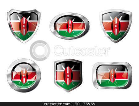 Kenya set shiny buttons and shields of flag with metal frame - v stock vector clipart, Kenya set shiny buttons and shields of flag with metal frame - vector illustration. Isolated abstract object against white background. by mozzyb