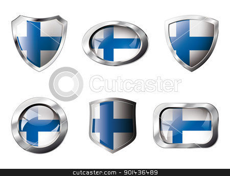 Finland set shiny buttons and shields of flag with metal frame - stock vector clipart, Finland set shiny buttons and shields of flag with metal frame - vector illustration. Isolated abstract object against white background. by mozzyb