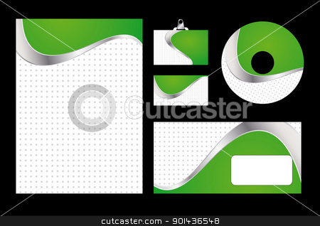 Vector illustration of green corporate identity. Letterhead, bus stock vector clipart, Vector illustration of green corporate identity. Letterhead, business card, compact disc and postcard with abstract green background. by mozzyb