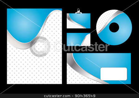 Vector illustration of blue corporate identity. Letterhead, busi stock vector clipart, Vector illustration of blue corporate identity. Letterhead, business card, compact disc and postcard with abstract blue background. by mozzyb