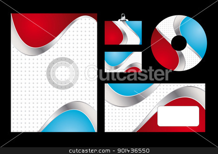 Vector illustration of red and blue corporate identity. Letterhe stock vector clipart, Vector illustration of red and blue corporate identity. Letterhead, business card, compact disc and postcard with abstract red and blue background. by mozzyb