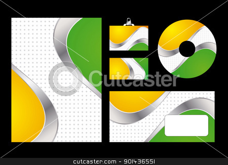 Vector illustration of green and yellow corporate identity. Lett stock vector clipart, Vector illustration of green and yellow corporate identity. Letterhead, business card, compact disc and postcard with abstract green and yellow background. by mozzyb