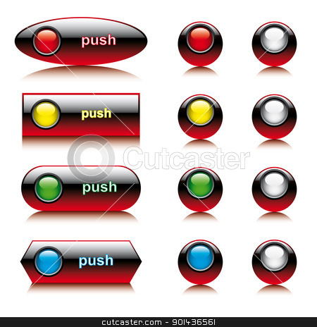 Vector illustration set of abstract shiny buttons for web and co stock vector clipart, Vector illustration set of abstract shiny buttons for web and computers application. Colorful collection isolated on white background. by mozzyb