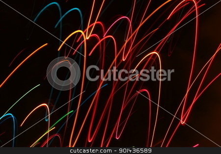 Abstract Motion Lights stock photo, Abstract Christmas light blurred by motion by Henrik Lehnerer
