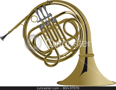 Music Instrument Series. Vector illustration of a french horn. stock vector clipart, Music Instrument Series. Vector illustration of a french horn. by Leonid Dorfman