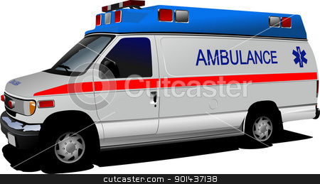 Modern ambulance van over white. Colored vector illustration stock vector clipart, Modern ambulance van over white. Colored vector illustration by Leonid Dorfman