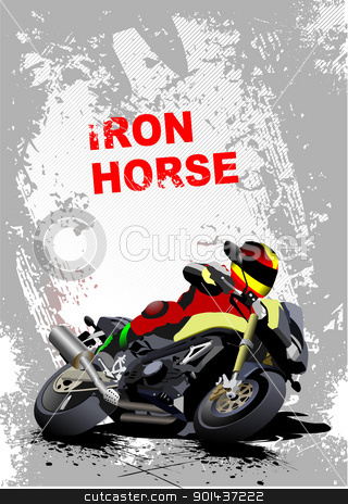 Grunge gray background with motorcycle image. Iron horse. Vector stock vector clipart, Grunge gray background with motorcycle image. Iron horse. Vector illustration by Leonid Dorfman