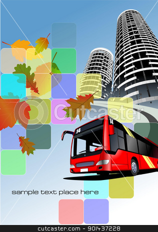 City bus on the town background. Eps 10 Vector illustration stock vector clipart, City bus on the town background. Eps 10 Vector illustration by Leonid Dorfman