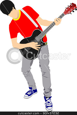 Guitar player isolated on the white background. Vector illustrat stock vector clipart, Guitar player isolated on the white background. Vector illustration by Leonid Dorfman