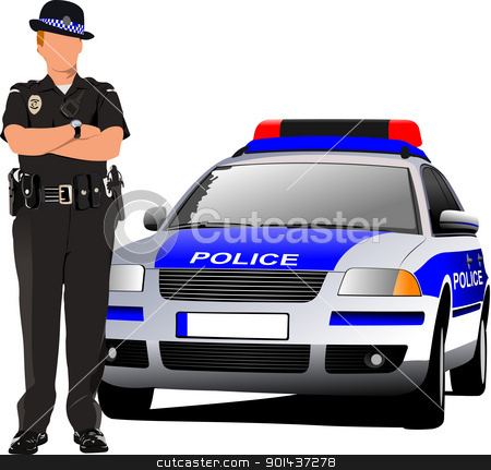 Police woman standing near police car  isolated on white. Vector stock vector clipart, Police woman standing near police car  isolated on white. Vector illustration by Leonid Dorfman