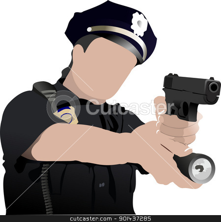 Police woman looking forward  isolated on white. Vector illustra stock vector clipart, Police woman looking forward  isolated on white. Vector illustration by Leonid Dorfman